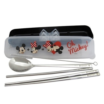 """Small Auditorium Disney Mickey Minnie Boxed Stainless Steel Two-piece Cutlery Straw Set """"Black Kiss Kiss"""" Environmental Cutlery. Environmental Straw"""