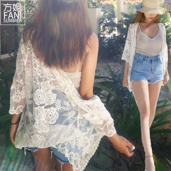 (FANI)◇ Fang Ni FaNi ◇ [Lace coat knitted blouse hook flower]