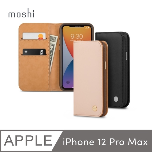 Moshi Overture for iPhone 12 Pro Max magnetic detachable card holder leather case
