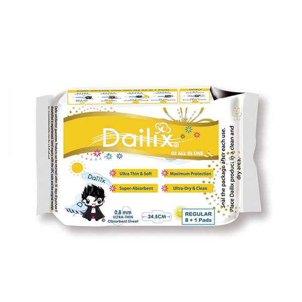 (Dailix)Dailix Vampire Super Instant Absorption Antibacterial Clean Taste Dry Sanitary Pad (24.5cm Daily Use 9 Pieces/Pack)