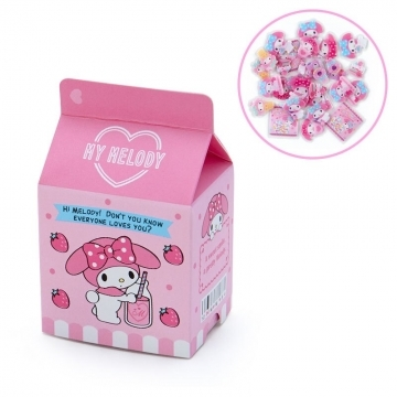 Small auditorium Melody milk carton shape jelly sticker transparent sticker crystal sticker (pink blue supermarket stationery)
