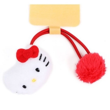 Small hall Hello Kitty styling fluff elastic hair ring styling hair bundle fluff hair ring (red and white face)