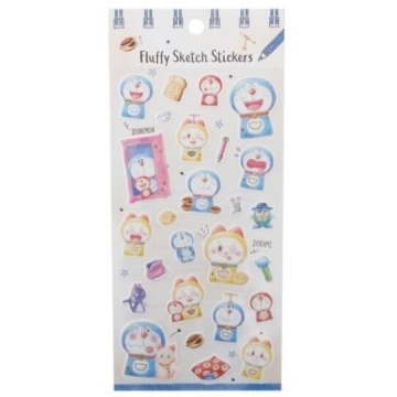 Small auditorium Doraemon Day-made transparent sticker hot stamping sticker hand account sticker (blue and yellow doll)