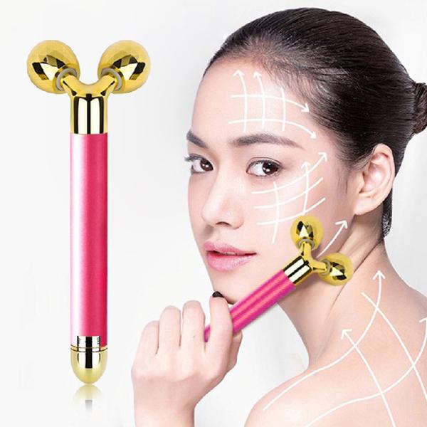 Panatec 24K Gold Double Roller Massage Beauty Stick สีชมพู K-270P