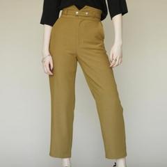 [EMODA] กางเกงขายาวเอวสูงพร้อมเข็มขัด