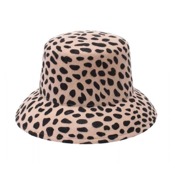 [EMODA] หมวกขนสัตว์พิมพ์ลายเสือดาวปีกกว้าง