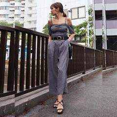 [EMODA] กางเกงขากว้างเอวสูงยางยืด