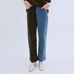 [ROCKET X LUNCH] กางเกงขายาวผ้าเดนิมเย็บลายสก็อต