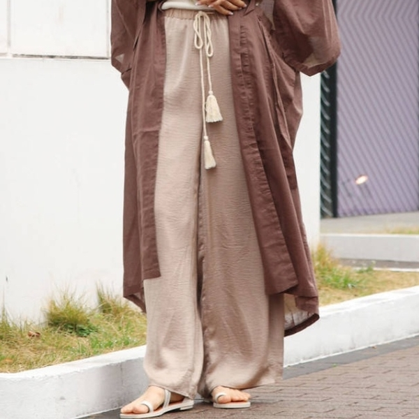 [Ungrid] กางเกงขากว้างผ้าซาตินแบบเชือกรูด