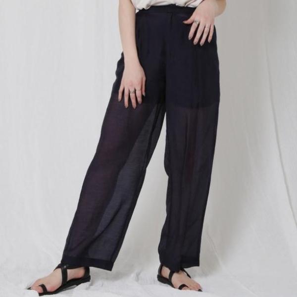 [Ungrid] กางเกงขากว้างซีทรู ผ้าซาตินไมโคร