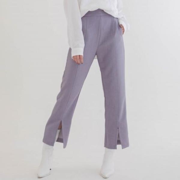 [mystic] กางเกงขาตรงผ่าด้านหน้าเล็กน้อยที่ใส่สบายและเรียบง่าย