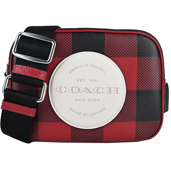 COACH Embossed LOGO กระเป๋าสะพายข้างลายสก็อต (Mini / Black X Red)