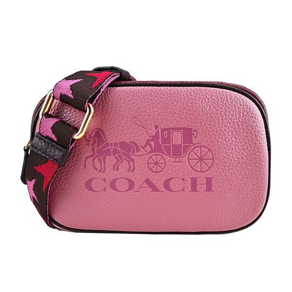 COACH Malaysia Embossed LOGO contrast waist / crossback dual-use camera bag (mini / rose x pink)