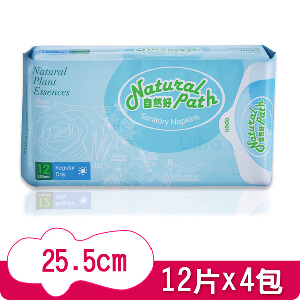 (Natural Path)Nature's Good Original Herbal Sanitary Cotton Daily Use (25.5cm x 12 pieces x 4 packs)
