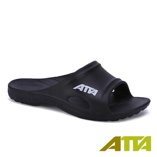 (ATTA)【333 home shoes】 flat feet recommended ★ ATTA sports wind simple casual slippers - black