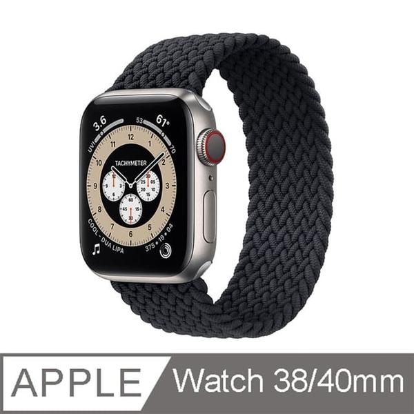 [Apple Watch strap 38/40mm] Woven single-turn watch ring-charcoal black-size S
