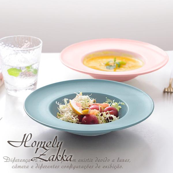 【Homely Zakka】北歐創意啞光色釉陶瓷深湯盤/義大利麵盤/西餐盤_莫蘭迪藍