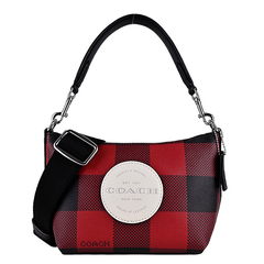 COACH Embossed LOGO Scotland Print Dual-use Saddle Bag (Mini / Black X Red)