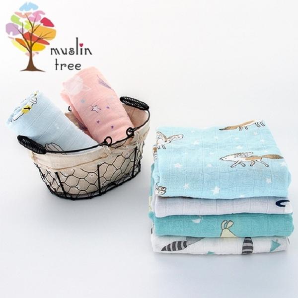 [ต้นมัสลินในเนเธอร์แลนด์] ผ้าขนหนูสองชั้นผ้าห่มใยไผ่ทารกแรกเกิด -2 ชิ้น