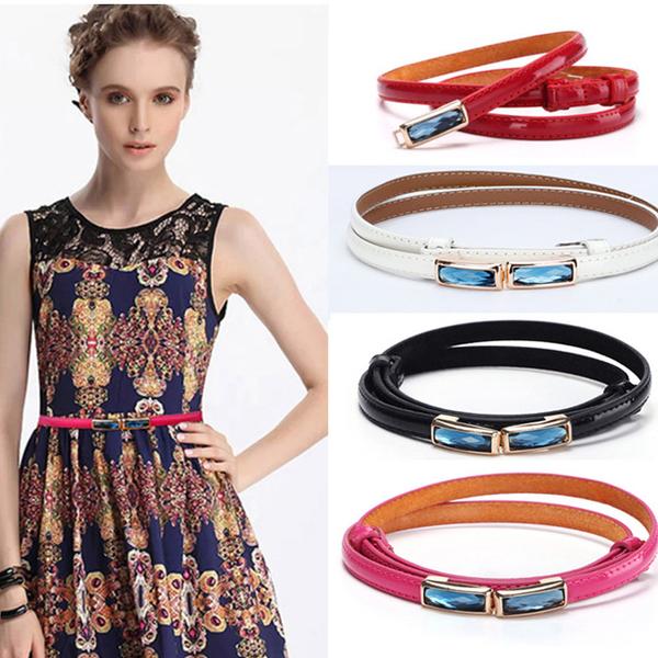 (FoxBi)FoxBi, belt Ziriya thin eye gemstone leather women thin belt belt