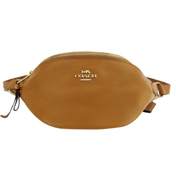 COACH Classic Carriage LOGO Leather Belt Bag (สีน้ำตาล)