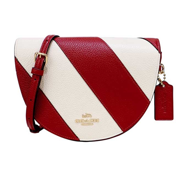 COACH Classic Carriage Diagonal Stripe (สีแดง X สีขาว)
