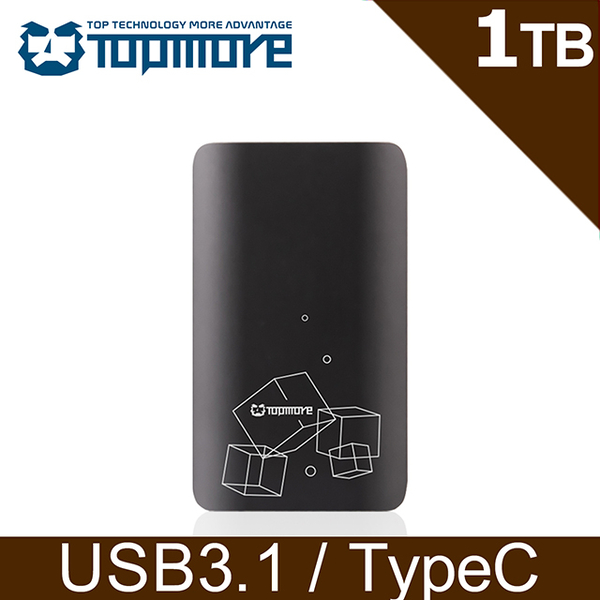 (topmore)Damo TOPMORE Portable SSD 1TB USB3.1 Gen2 External Solid State Drive-Geometric Gray (TS1)
