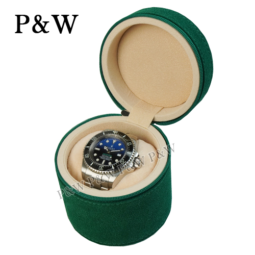 (P&W)[P&W Watch Collection Box] [Green Frosted Leather] 1 Handmade Boutique Watch Box