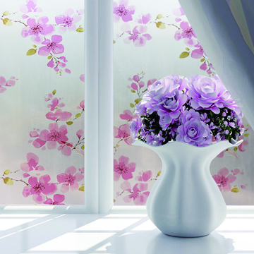 Taste the quality of home life ★Balcony window bathroom matte self-adhesive frosted window sticker UV-resistant insulation film paper extended version 90X200cm-pink flower branch