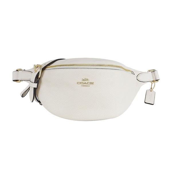 COACH Classic Carriage LOGO Leather Waist Bag (White)