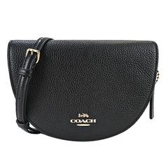 COACH Classic Carriage Plain Leather Crossbody Half Moon Bag (Black)
