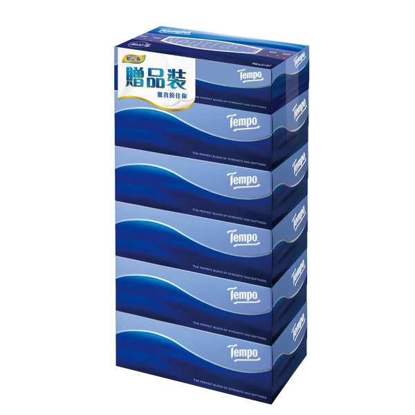 (Tempo)Tempo 3 Layers Boxed Facial Tissue-Natural and Fragrance Free (86 Draws x 5 Boxes + 1 Box of Gifts)