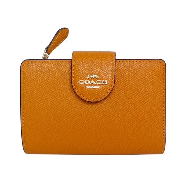(coach)COACH Dark Orange Scratch-resistant Full Leather Brand Folding Button Double Folding Clip