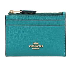 COACH โลโก้รถสามมิติป้องกันรอยขีดข่วนกระเป๋าใส่นามบัตรหนังใส่เหรียญ (สีเขียวทะเลสาบ)