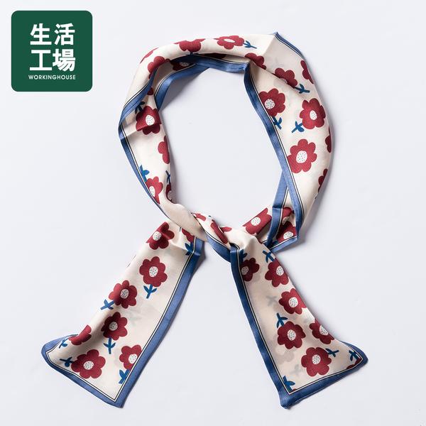 [Life Workshop] Printed Wild 1009.5 Silk Scarf-Burgundy Flowers