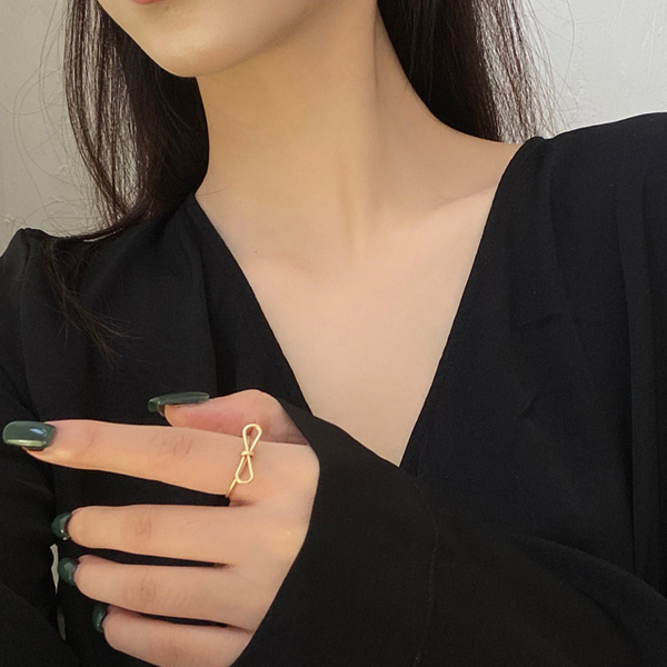 (charme)Charme Korean pop bow simple line shape open ring