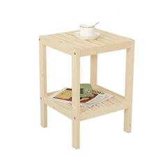 โต๊ะข้างเตียงไม้เนื้อแข็งเรียบง่ายโต๊ะข้างเตียงโต๊ะกาแฟชั้นเก็บของ