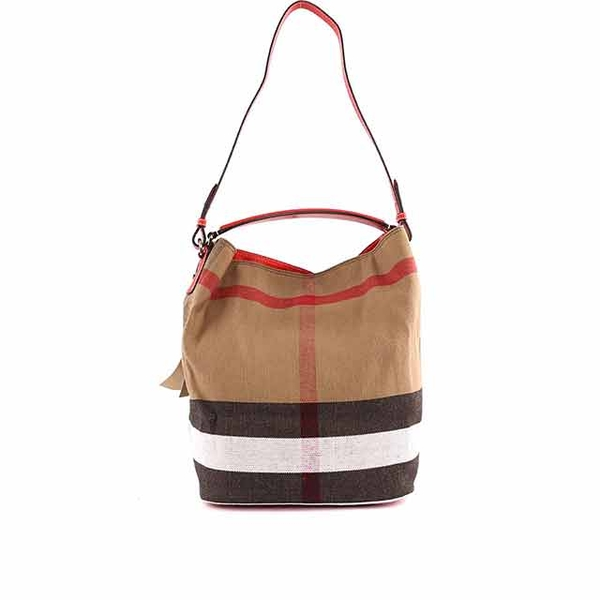 (burberry)BURBERRY Brown cotton and linen blended portable/shoulder two-use bag (red strap) 3945728 6126T