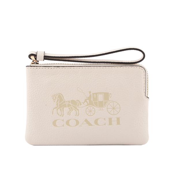 COACH กระเป๋าหนังลิ้นจี่ ลาย L-Zip Clutch (สีขาว) 3580 IMCHK