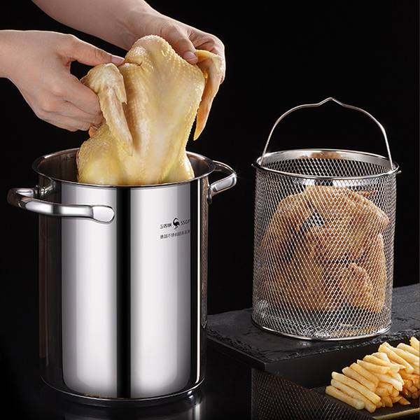 (push!)PUSH! Kitchenware 304 stainless steel deep fryer Japanese style tempura fuel-efficient frying pan with filter D252