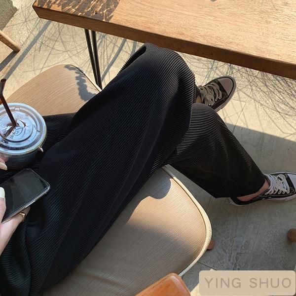กางเกงขากว้างอัดพลีท ทรงสลิม เท่ ปกปิดเนื้อ เผยให้เห็นขา กางเกงขากว้างขายาว ไซส์สี เลือกสีได้ รุ่นสีดำ