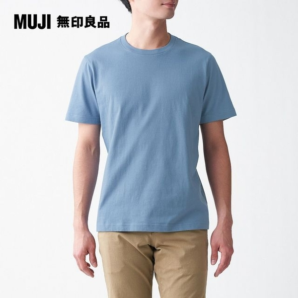 [M] MUJI MUJI organic cotton T-shirt round neck Tenjiku light blue