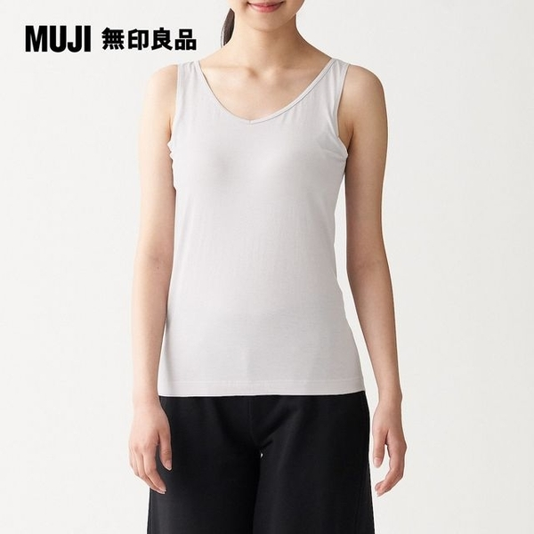 [F] MUJI MUJI silk cotton blend tank top cup formed integrally with grayish