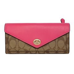 COACH สีกากี C โลโก้ Peach Edge Leather Envelope พับ Turn-lock Flap Long Clip