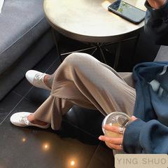 กางเกงขากว้างอัดพลีทผ้าบางสุดคูล ปกปิดเนื้อเผยขา กางเกงขากว้างขายาว เลือกสีไซด์ได้ สไตล์แอปริคอท