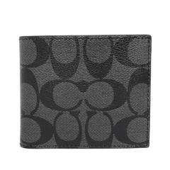 COACH สีเทาและสีดำ C โลโก้ด้านในหนังหก-Card ID โฟลเดอร์ bi-fold ผู้ชาย