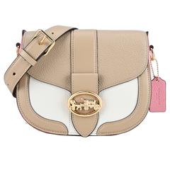 COACH GEORGIE กระเป๋าหนังวัวลายนูนสีตี cross-back piggy saddle bag (ชานม)