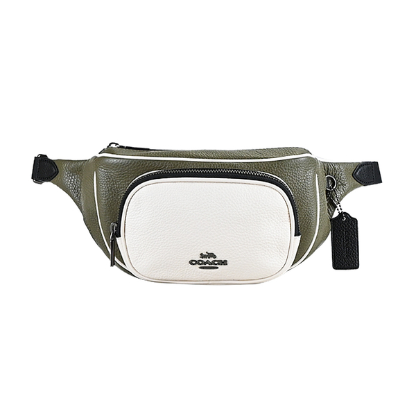 COACH Carriage LOGO Contrasting Colour Leather Belt Bag (เขียว x ขาว)