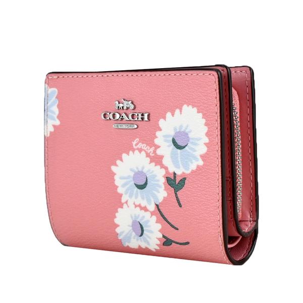 COACH สามมิติ Carriage LOGO Daisy Print Short Clip Gift Box (สีชมพู)