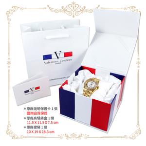 [Valentino Coupeau] เหลี่ยมเพชรสีแดงจุดเจาะเปลือกสีขาวทั้งหมดเปลือกสแตนเลสทองที่มีนาฬิกากันน้ำ (สองรุ่น)